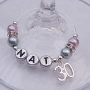 30th Birthday Personalised Wine Glass Charm - Elegance Style